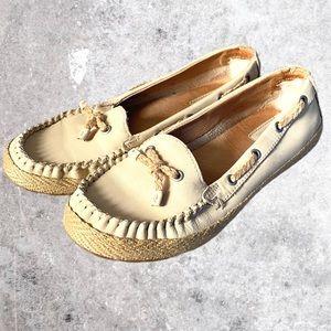 UGG Chivon Cream Nubuck Moccasin Boat Shoes Size 6